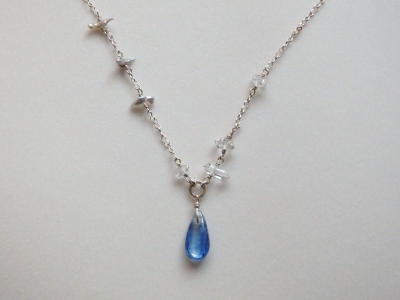 画像1: カイヤナイト&ハーキマーダイアモンド*アコヤパールネックレス
