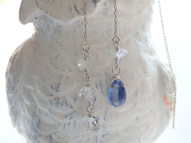 画像1: カイヤナイト&ハーキマーダイアモンド*アメリカンピアス(B)