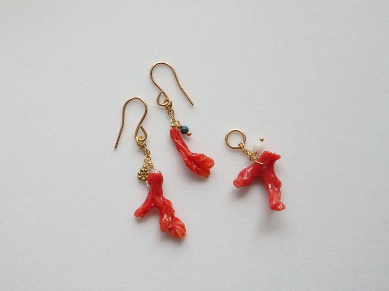 画像1:  枝珊瑚のピアスとトップ