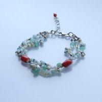 花珠環ブレスレット〜コーラル&アマゾナイト&クリソプレーズ